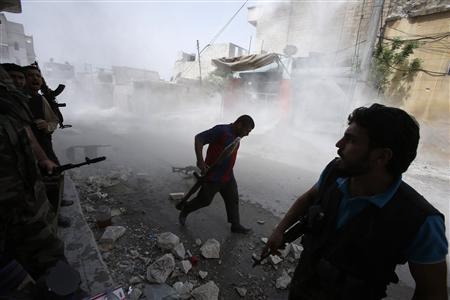 bombs explode in army headquarters in Damascus, September 2, 2012 reut 4.jpg