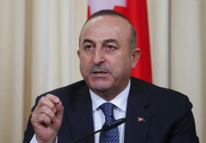 Turkish Foreign Minister Cavusoglu speaks during a news conference in Moscow