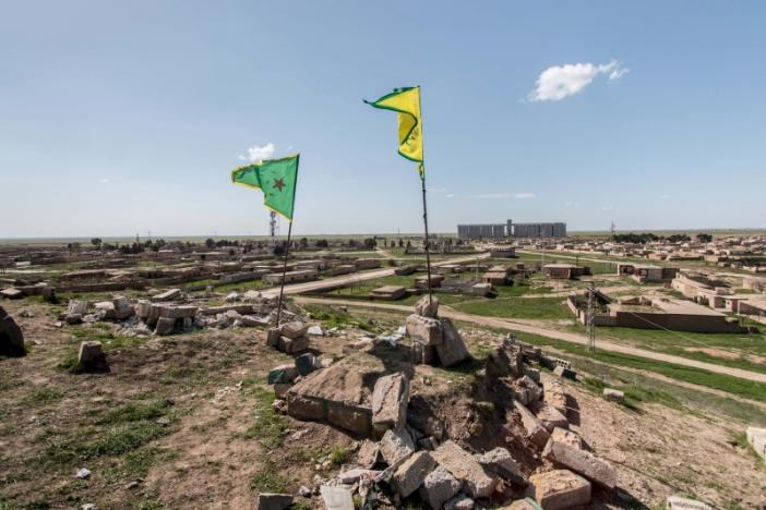 File photo of Kurdish YPG flags in Tel Hamis in Hasaka countryside after YPG took control of the area