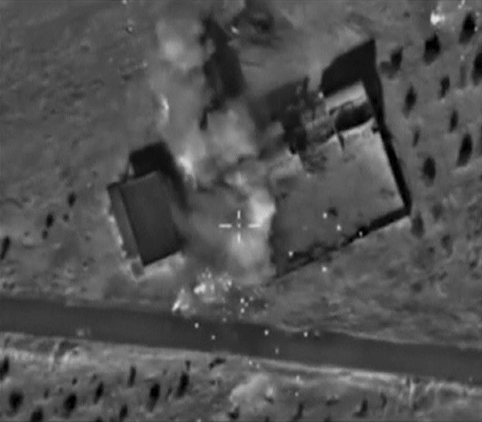 Frame grab shows air strikes carried out by Russian air force in Hama province