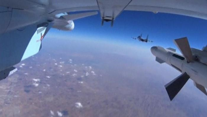 Frame grab shows military jets of the Russian air force during a sortie in Syria